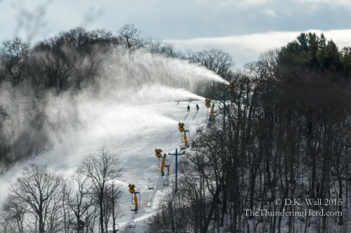 Cataloochee Ski Area next door is making snow at the very top of the mountain.