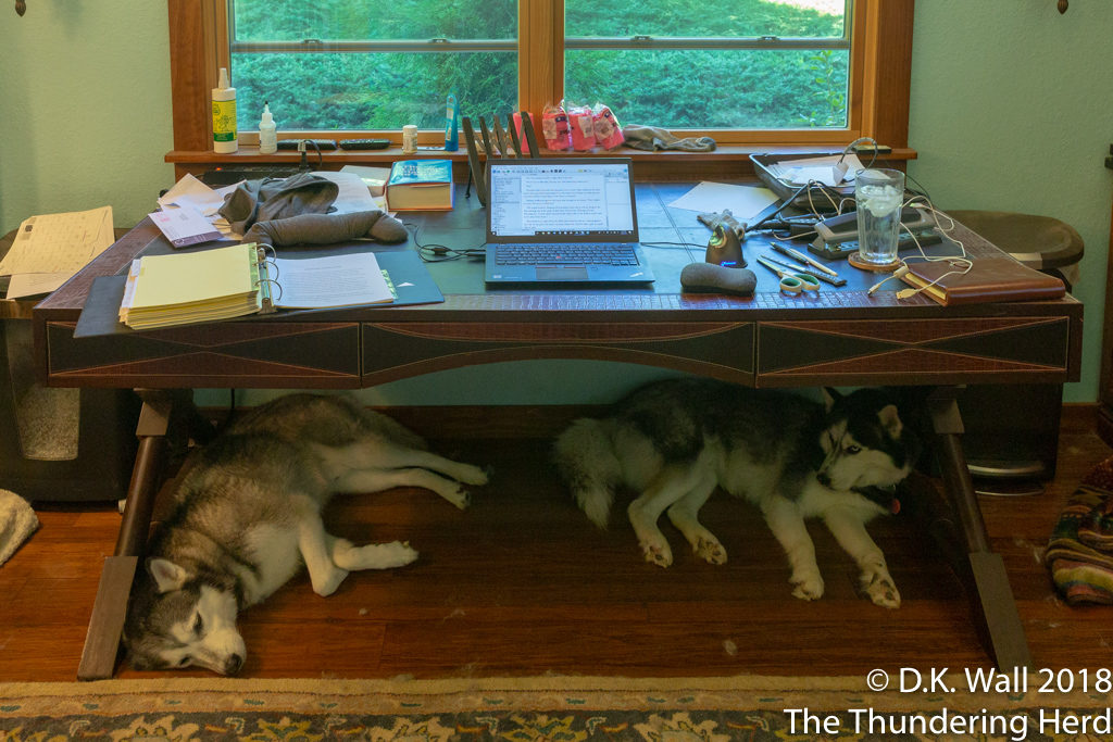 A closer view of the work space.