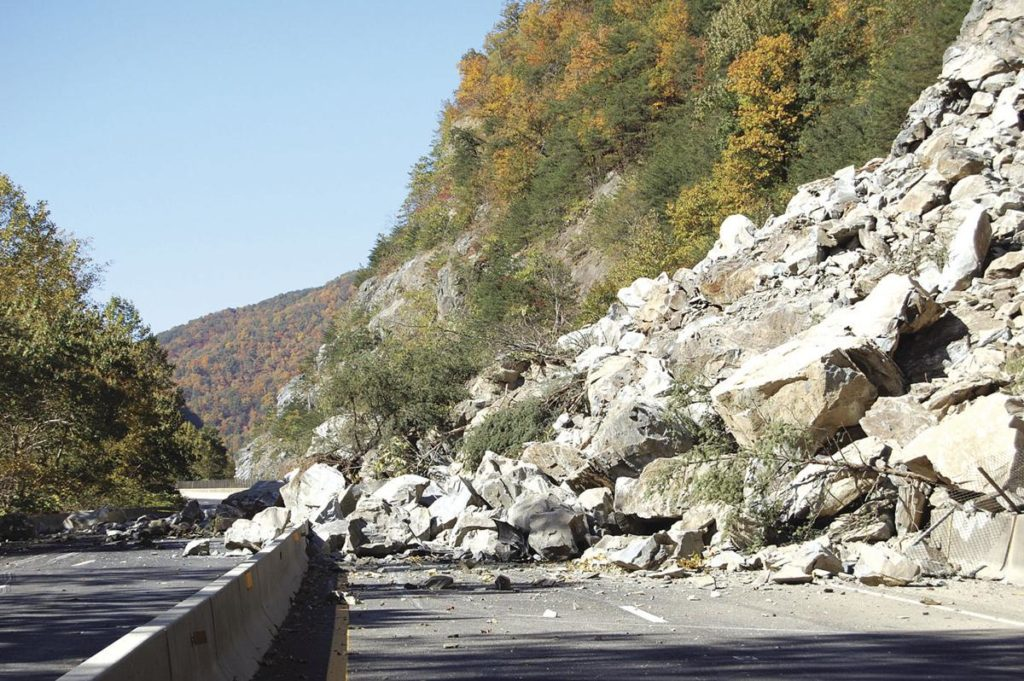 File Photo from The Mountaineer of a rockslide on Interstate 40